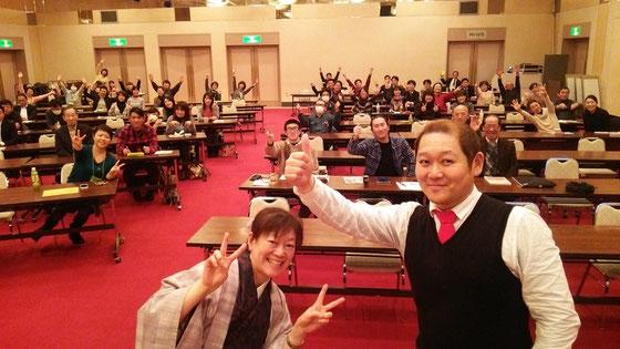 大文殊2015 講師のお2人と 左 相沢こづえさん(竹の露) 右 高橋誠輝さん(ROSSO)