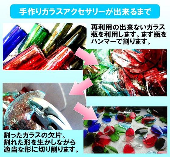 手作りガラスアクセサリーが出来るまで リサイクル出来ない瓶の資源利用  7-Colors 鶴岡ガラスアート工房