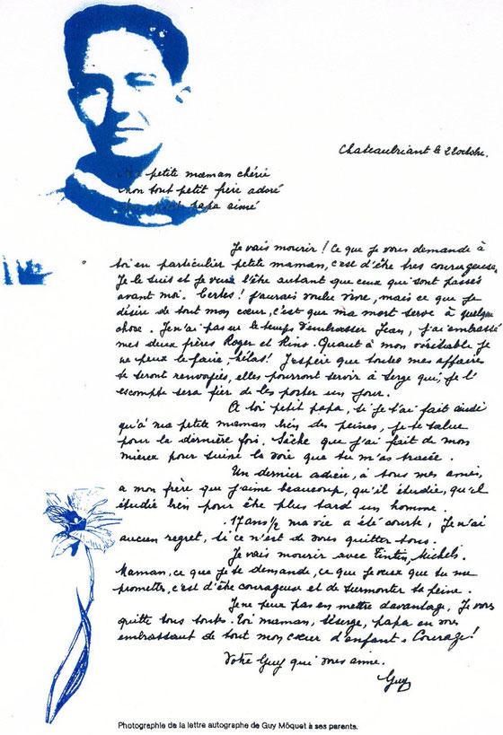 """Voici le texte de la dernière lettre du jeune résistant communiste Guy Môquet, fusillé par les Allemands le 22 octobre 1941. """"Ma petite maman chérie, mon tout petit frère adoré, mon petit papa aim"""
