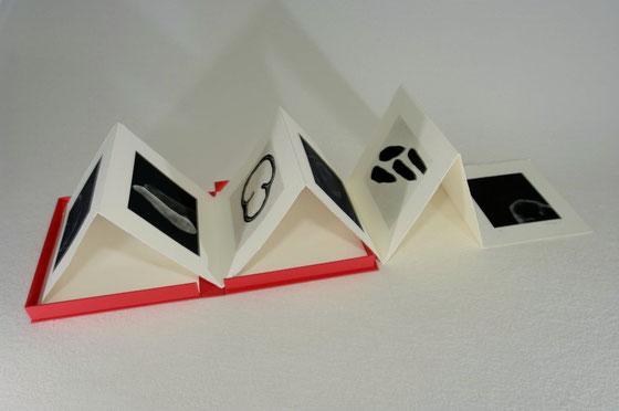 Abstahierte Formen in schwarz-weiss, siebenseitiges Leporello in einer roten Schachtel
