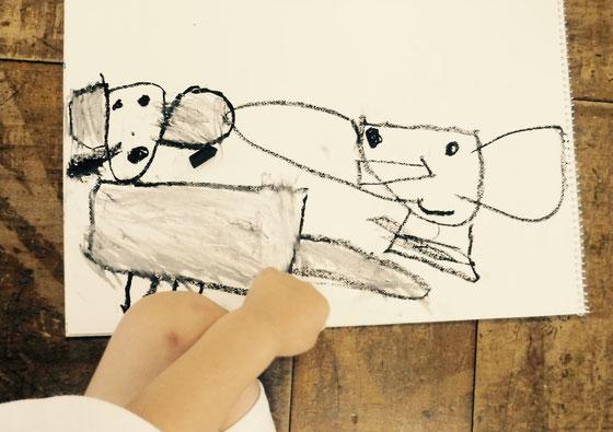 象の親子(Éléphant parent-enfant.)5 ans.