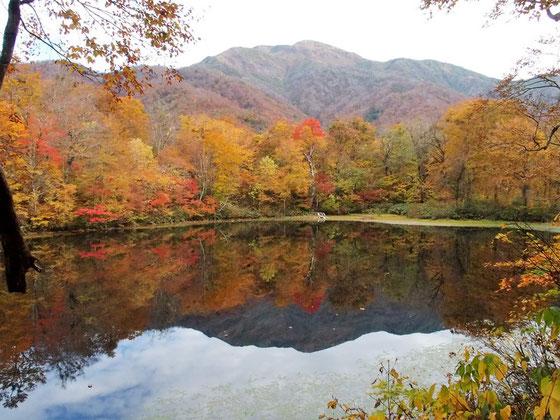 静かな池に移りこむ三ノ峰と岸辺の紅葉がいいコントラストでした。                     惜しむらくは三ノ峰に白いものがまだのことです