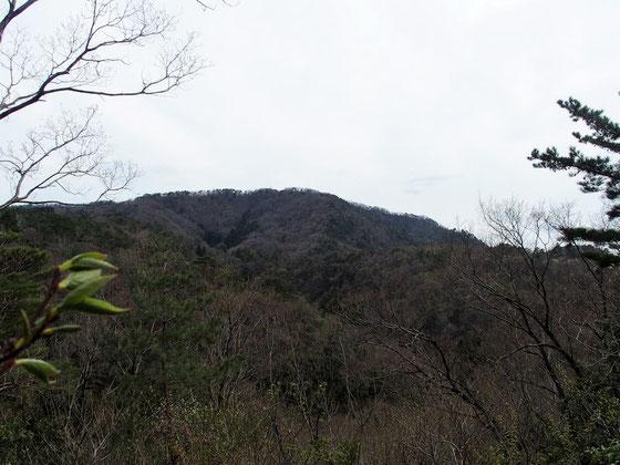 正面ピークが観音山(402m)です。 正面ピークまでの右の方が遣水禅定道で、ピーク左の方がつくばね新道です。これを周回しました。