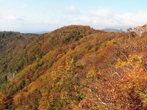 下山時に冠岳展望台に立ち寄り景色を楽しむ。つつじヶ原方面の紅葉です。