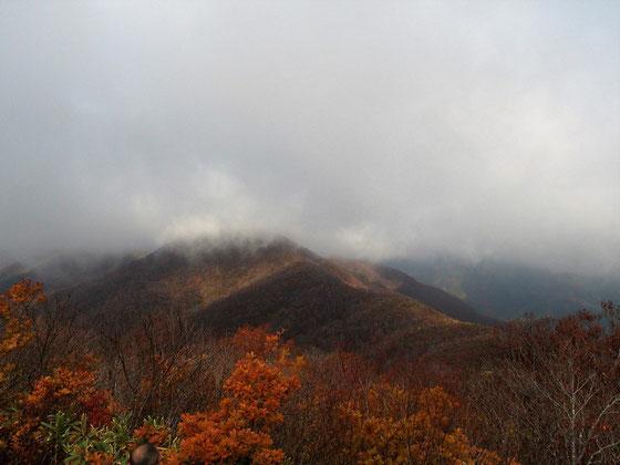 浄法寺山山頂から南丈競山を望むがガスの中でした。期待していた白山も見えません。     しかし、いい雰囲気の景色ですね。