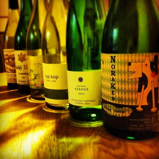 『NORAKEN SPARK 2012』 『KURISAWA KERNER 2012』 『tap-kop Blanc 2012』 『ぴのろぜ 2012』 『Yoichi Rouge Assemblage NV』『TAKIZAWA Premium PINOT NOIR 2012』