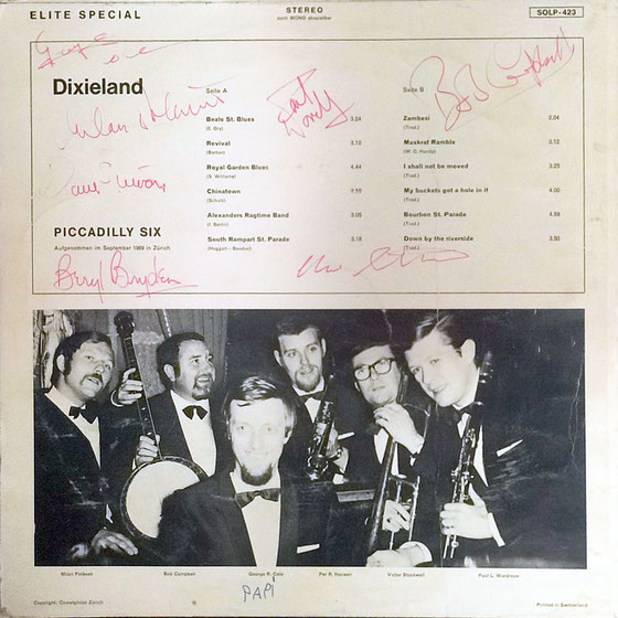 Picadilly Six, Dixieland Band, Switzerland, LP from 1969, from the collection of George Cole's daughter