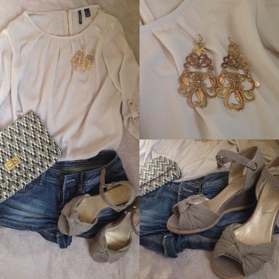Top: Mango über Sabrina's Shop, Ohrringe: (S)-Accessoires, Sandalen: Vögele Schuhen, Tasche: H&M