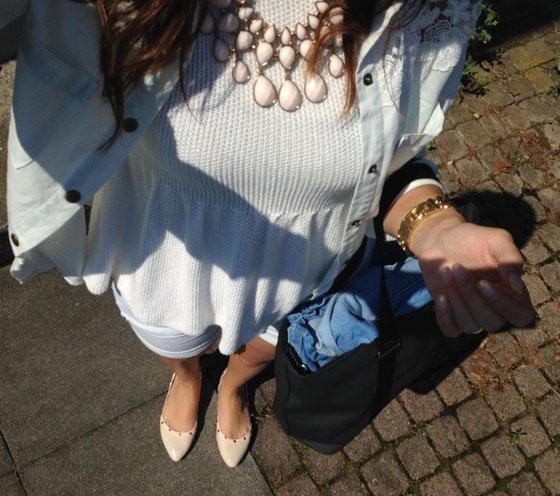 Jeansbluse: VILA über Sabrina's Shop / Top: Kleiderkreisel / Kette: H&M / Shorts: OXXY / Ballerina: SDS