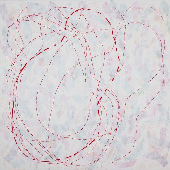 Acryl, Wolle und Garn auf Leinwand, 100x100cm