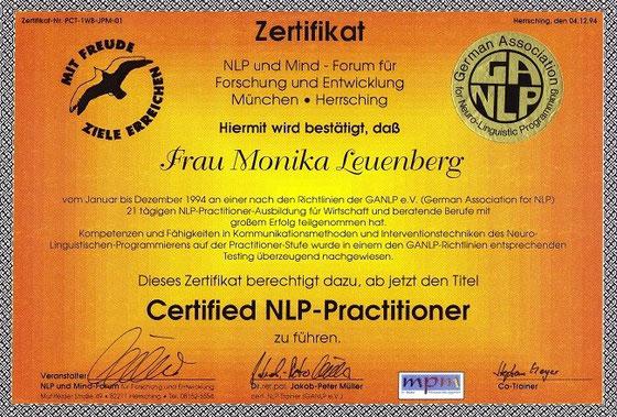 Zertifikat zum Tragen des Titels