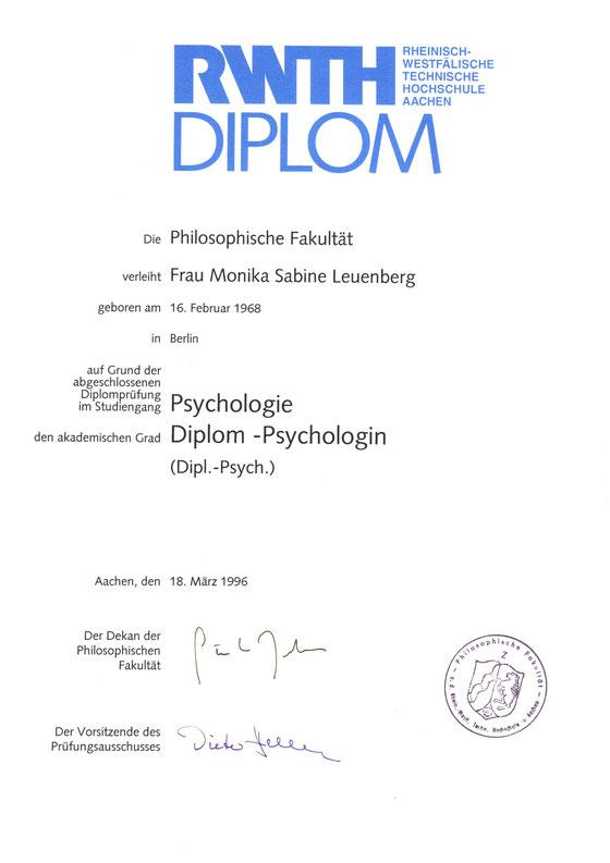 Nachweis über Erlangen des Titels Dipl.-Psych.