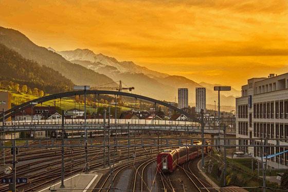 Abendstimmung Bahnhof Chur 9.4.2014