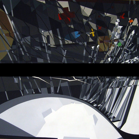 Acrylic on black paper. 220cmx220cm:Diptych-Boxing Arena//Berlin-1992: Wolfgang Rang private collection