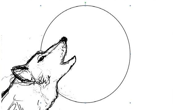 Wolf vor dem Mond