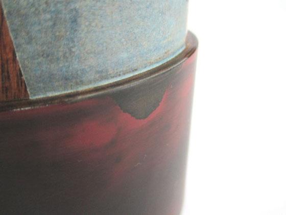 茶筒の親 中塗り研ぎ一回目