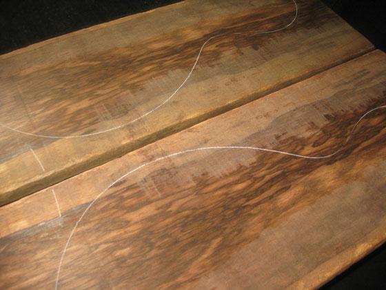 LPタイプの左側パターン 色が薄い部分は磨き残しです。磨けば杢が出ます。