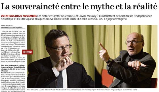 Historische Debatte über die Selbstbestimmung und direkte Demokratie mit Olivier Meuwly für La Liberté. November 2018