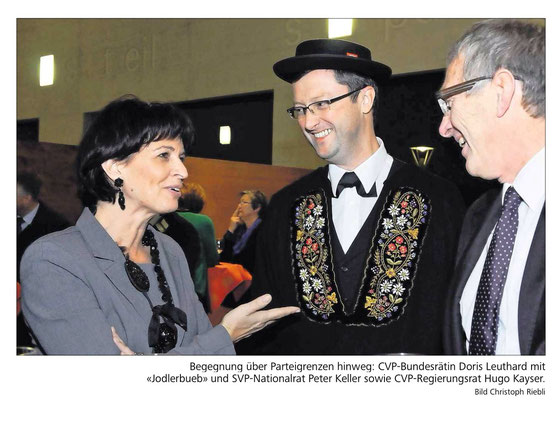 Bundesrätin Doris Leuthard zu Besuch in Nidwalden - mit Auftritt der Stanser Jodlerbueben. November 2013
