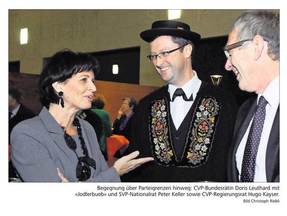 Bundesrätin Doris Leuthard zu Besuch in Nidwalden - mit Auftritt der Stanser Jodlerbueben. November 2013