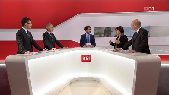 Debatte in der RSI zum Budget 2017 mit den Parlamentskollegen Fabio Abate, Marina Carobbio und Fabio Regazzi (von links nach rechts), Dezember 2017