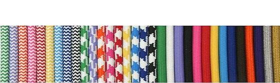 Textilkabel Gummi-Schlauchleitung, gruen-weiß, lila-weiß, orange-weiß, pink-weiß, rot-weiß, gelb-weiß, hellblau-weiß, dunkelblau-weiß, schwarz-weiß, Zick-Zack Muster, Hahnenkamm Muster
