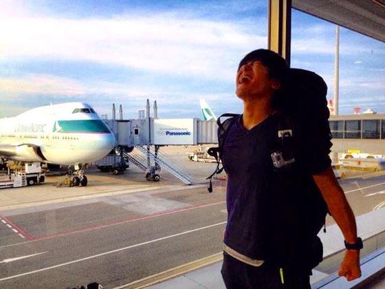 世界一周のスタート地点、関西国際空港にて
