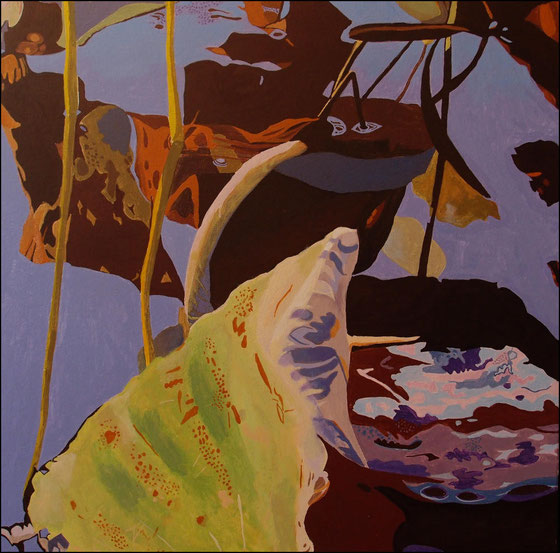 lotus sacrés o, travail en cours, acrylique sur toile, 65 x 65 cm