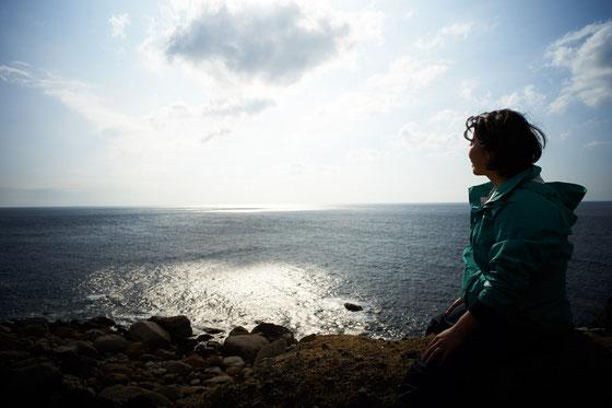 展望スポットから、口永良部島と東シナ海を一望する,西部林道ガイドツアー