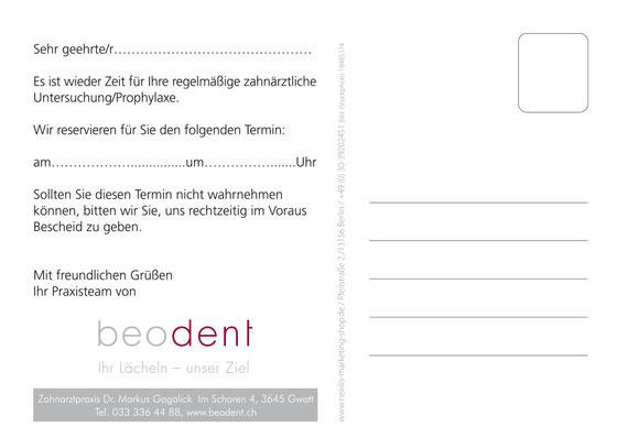 Recallkarte Zahnarzt