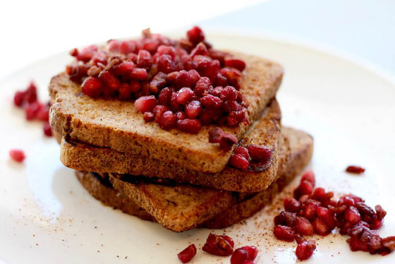 This breakfast recipe for one is easy and healthy! You'll think this Pomegranate Pecan French Toast is one of the best.