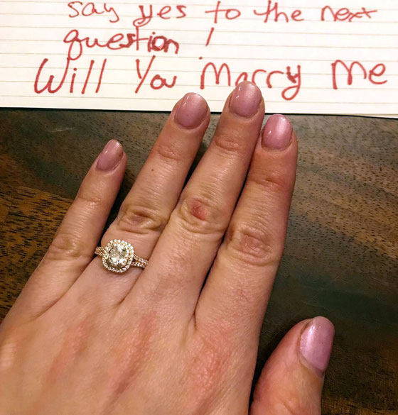 A surprise engagement isn't easy to pull off, but my fiancé had me saying yes with a food-inspired marriage proposal. See how he popped the question! #amyseatlist #engagedaf #weddingplanning #supriseengagement #idocrew