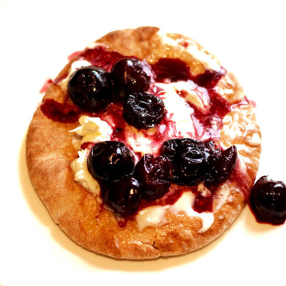 This Cherry Mascarpone Pita is perfect for kids or even for Valentines Day! It's a great healthy snack or dessert recipe.