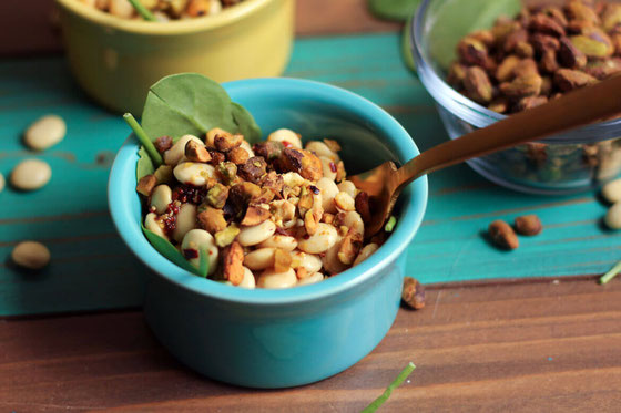 Italian Lupini Bean Salad with Crushed Pistachios is a delicious high-fiber side dish with a crunchy pistachio topping. It would make a great addition to any warm meal!  #amyseatlist #beansalad #pistachios #italianbeansalad #highfiber