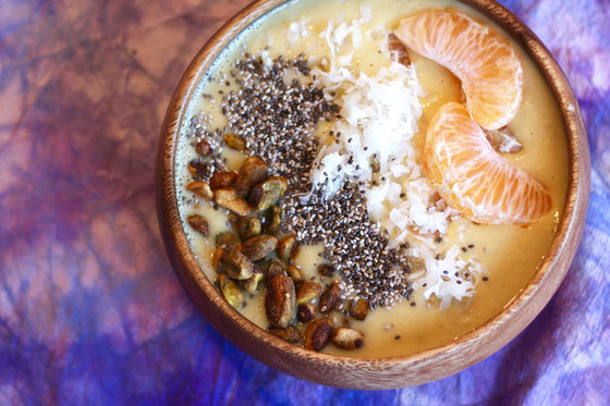 Looking for dairy free smoothies? This easy Vegan Mandarin Orange Creamy Coconut Smoothie Bowl recipe is a healthy breakfast choice! It's loaded with bananas, protein and more!