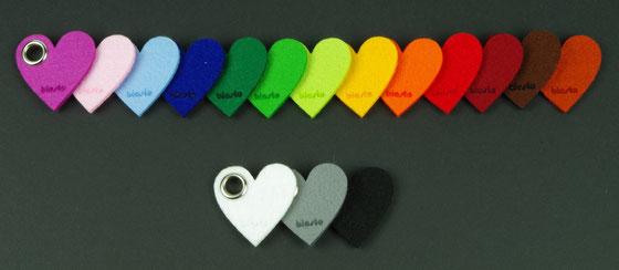 Filzherzen biasto-laserdesign Filzfarben Untersetzer, Schlüsselanhänger