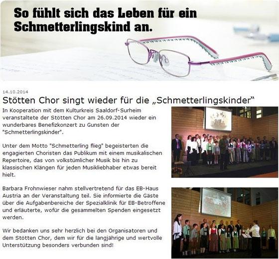 Benefizkonzert Saadorf Surheim, Artikel eb-haus Homepage Oktober 2014
