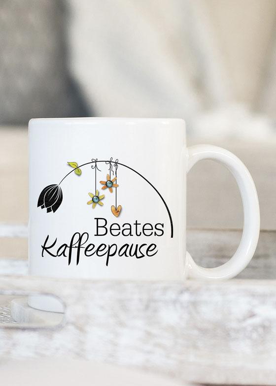 Kaffeetasse bedruckt mit Name
