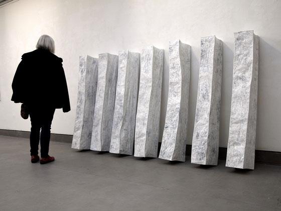 ohne Titel, 2014,  Papier, Draht auf Holz  148x240x29cm