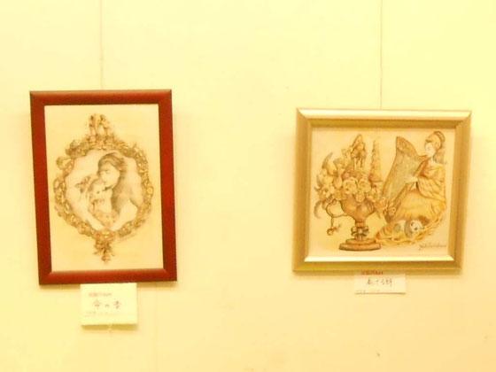 立花雪 炎と楽園のアート 作品展 左の作品~命の音~も好評でした。