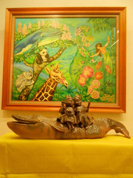 YukiTachibana     立花雪   炎と楽園のアート   楽々土像   双子とクジラ