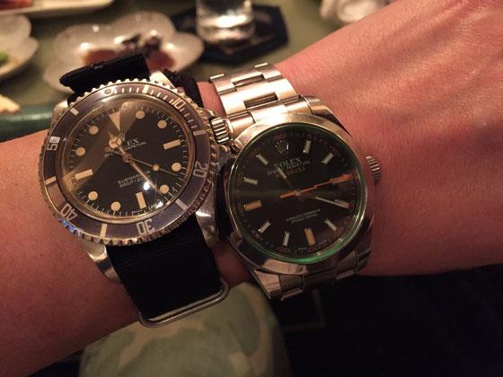 右の時計は、友達の時計なんですけどね、、これ見て「ロレックス!」て思う方はまだまだかな? と言うか普通www 正解は、「わ!ミルガウスやん!」となったんは、僕です!♪ でそうなったのも僕だけらしいです!w  (ミルガウスは強い磁気の影響下でも使用できる、、どうたらこうたら、、な時計です。) 実際に手に取ったの初めてだったんですけど、シードゥェラーばりの厚みがあり、重さはドゥェラーよか重たいんじゃないかな!? まさか飲み会で出会えるなんてね!w