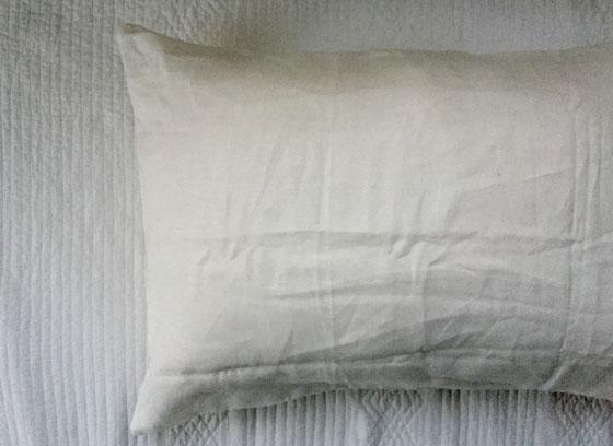 枕カバーがリネンのモノに交換されていた、、頬に触れる質感が気持ちいい♪ 最近窓を開けて寝ているんですけど、朝方少し肌寒く、薄手の布団に包まって目覚める感じ、、快眠です♪