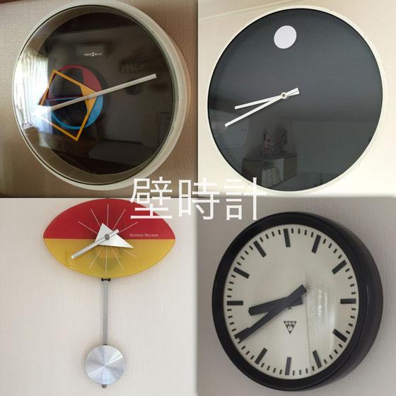 """我が家の壁時計たち、、実は壁に時計掛けるの好きじゃないんです!? 出来上がってしまうというか、キマり過ぎちゃうと言うか、、、まあ""""カチッ""""としちゃう感じが嫌なんですよね、、まあ感覚の問題ですよw でもツールとしては好きなんですよね~w それも超が付くほどww インデックスが数字タイプを選ばないのがオレ流かなwww *店には今も昔も卓上の小さな時計しか置いていません。"""
