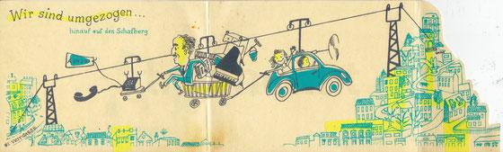 Wir sind umgezogen. Karte von Heinz Traimer um 1957.