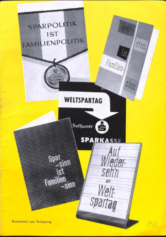 Weltspartag 1960 - Werbemittel der der Sparkasse. Design Heinz Traimer.