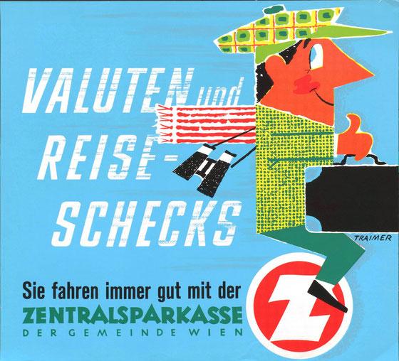 Plakat: Valuten und Reiseschecks. Werbung der Zentralsparkasse (Straßenbahnplakat 1960er Jahre).