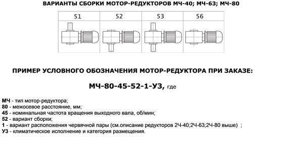 Варианты сборки червячных мотор-редукторов МЧ40, МЧ63, МЧ80. Пример условного обозначения червячного моторредуктора при заказе.