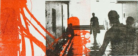 Lithografie in Rot und Schwarz von Rainer Kaiser