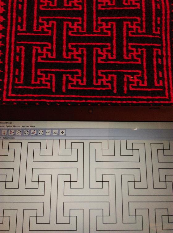 Mijn tekening op de laptop, onder het kleedje